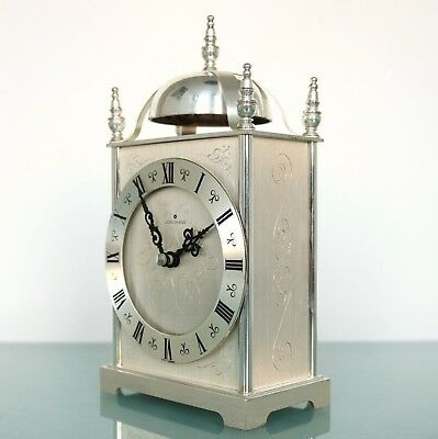JUNGHANS Vintage Mantel CLOCK SILVER PLATED Germany Mechanical Electric Movement