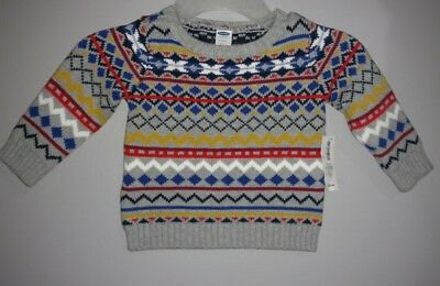 Nwt Old Navy Baby Boys Size 6-12 Months Geometric Print Long Sleeve Knit Sweater