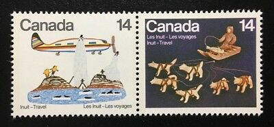 Canada #771-772a MNH, Inuit Travel Pair of Stamps 1978