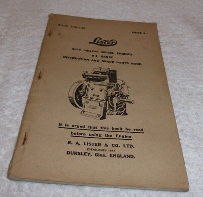 Lister Instruction book and parts list Solid injection diesel engines 9-1 Range