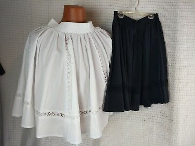 2 Vintage Partners Please! by Malco Modes black & white skirt eyelet lace L