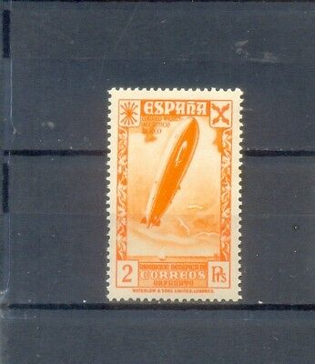 Spain Civil War. 1938. Mnh 2 Pts Zeppelin Stamp Issued In London.