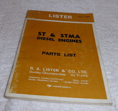 Lister Parts list ST & STMA diesel engines dated March 1978