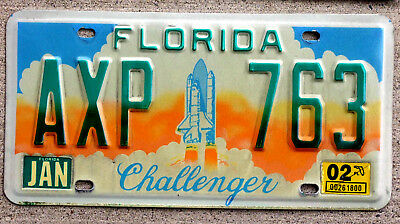 Florida Challenger Tribute License Plate from the Space Shuttle Era 2002 Sticker