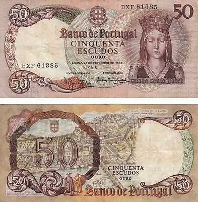 Portugal 50 Escudos Currency Banknote Queen Sta Isabel 1964  Fine+ !!