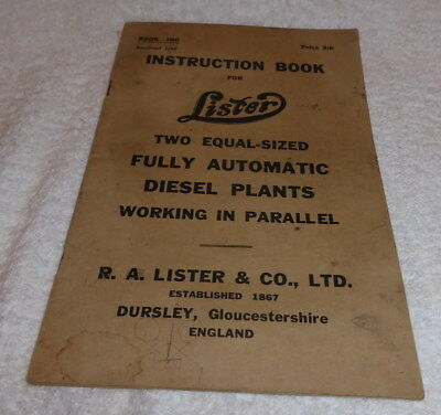 Lister instruction book for Two equal - sized fully automatic diesel plants 1949