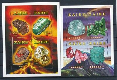 [G88478] Zaire Minerals 2 good sheets Very Fine MNH