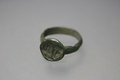 Ancient Fantastic Roman Bronze Ring with Two Faces 1st - 4th century AD