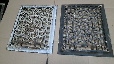 2 Cast Iron grate/vent COVERS craftsman Victorian wall raised matching pair