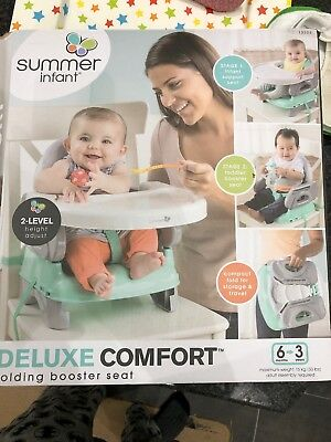 Summer Infant Deluxe Comfort 2 Level Booster Seat Safari Stripe