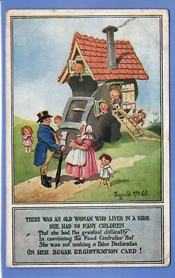 SUPER 1918 FOOD RATIONS MOTHER HUBBARD LIVED SHOE SIGNED DONALD McGILL POSTCARD