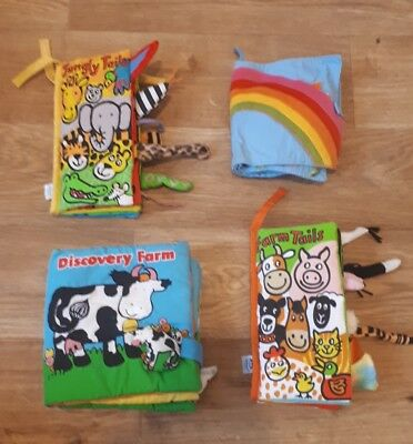 Bundle Of 4 Different  Baby Soft Cloth Books with activities and sounds