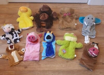 bundle of 10 different animal hand puppets