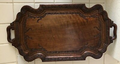 Vintage Carved Walnut Tray