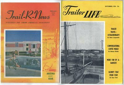 1953 1954 Trail-R-News Trailer Life magazines; Airstream ads Wally Byam Caravans