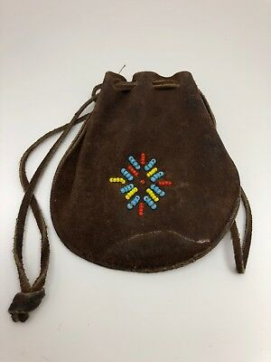 Vintage Leather Beaded Marble Money Bag Native American?
