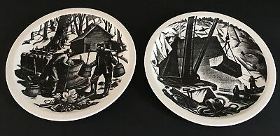 "2 Clare Leighton by Wedgwood Plates: ""New England Industries"" Series"