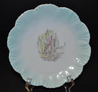 Palmer Cox Brownies Porcelain Clam Shell Patterned Plate with a Blue Rim
