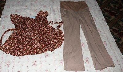 Maternity Oh! Mamma khaki pants & Brown floral Announcements Top Outfit size L