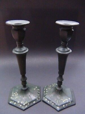Pair Antique Candle Sticks Colonial Silver Co Portland ME 1899-1943 Painted