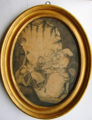 Genre 18Thc  Manner Of Angelica Kaufman Family In Garden Alcove W/col C1795