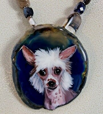 Chinese Crested  Handpainted Dog on Agate on a  Jasper Necklace Removable Pin