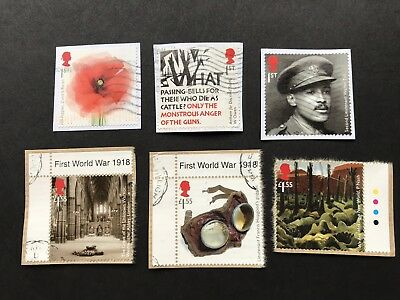 gb commemorative stamps 2018 THE GREAT WAR WWI, Set Of 6 Used On Paper