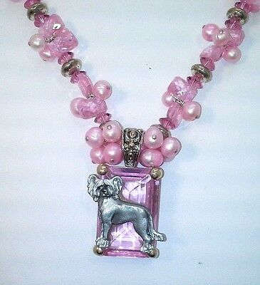 "CHINESE CRESTED PEWTER PENDANT ON PINK CRYSTAL & 18"" Pearl Crystal Necklace SS+"