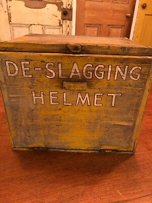 Vintage Yellow Wooden Box De Slagging Safety Helmet Welders