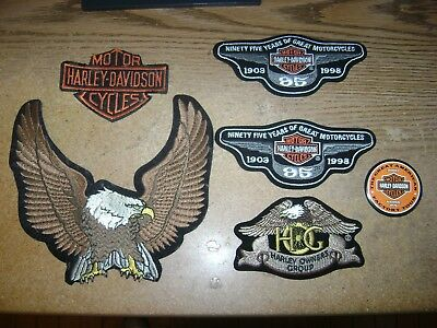 Lot Of 6 Harley Davidson Rocker Patches 95Th Anniv. Hog, Eagle H-D York Pa Pin