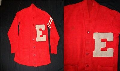 Cherry Red ROCKABILLY Vintage 1950's Men's Varsity LETTERMAN Cardigan Sweater M
