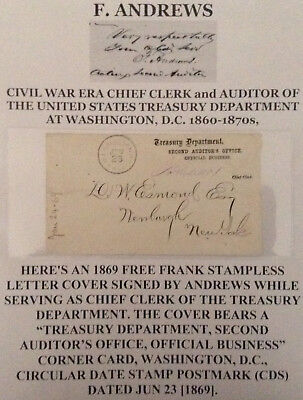 Civil War Chief Clerk Auditor Us Treasury Dept Signed Free Frank Letter Cover Vf