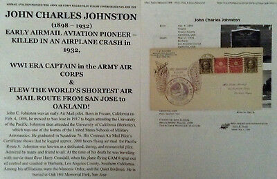 Airmail Aviation Pioneer Wwi Army Air Corps Killed Pilot Flight Cover Signed '29
