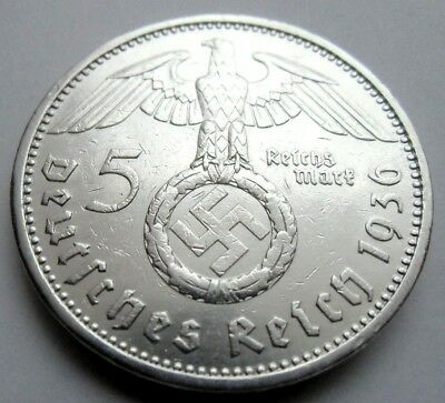 (93)WWII German 5 Mark  - 1936 A  -  Silver -  Coin