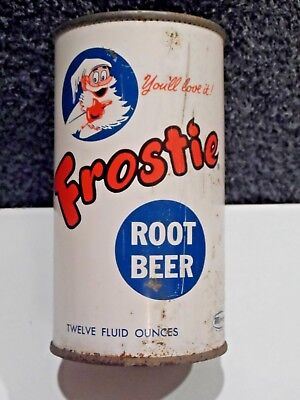 Frosty Root Beer Flat Top Soda Can.