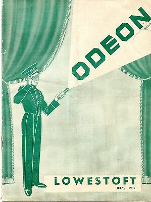Lowestoft Odeon Cinema 1937 Monthly Film Fare Brochure.