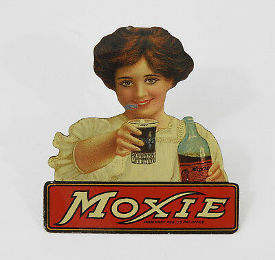 Early Tin Lithographed MOXIE Pin Vintage Antique Soda Advertising Old Litho