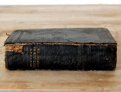 Small Antique French Bible New Testament 1800s Victorian 19th Century Shabby