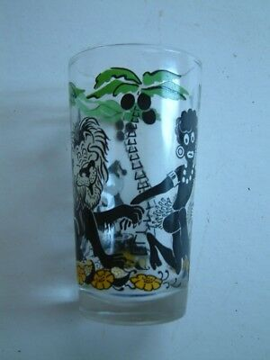 Vintage Black Americana Jungle With Elf & Zebra-Sambo Figure-Tiki Juice Glass