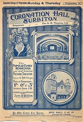 Surbiton Coronation Hall Cinema 1914 Programme.