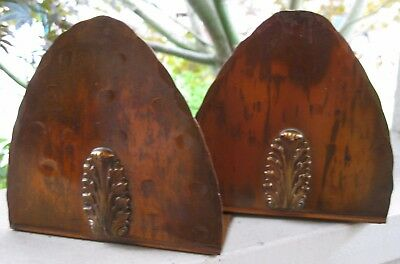 Antique Arts & Crafts Drumgold Copper Vintage Bookends Mission Era Hammered Art