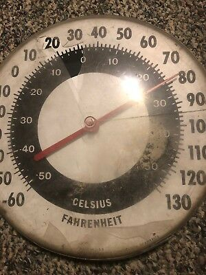 Vintage antique old thermometer Ohio Celsius Fahrenheit USA Mage round sign tin