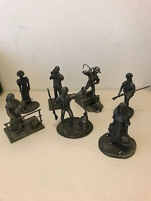 Franklin Mint Pewter Figurines The American People Lot Of 7