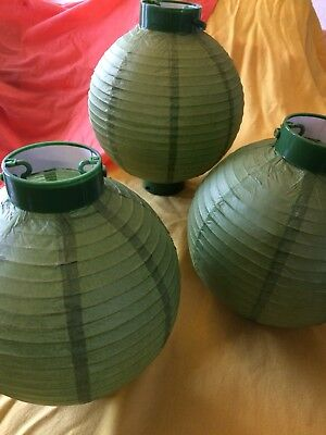 PAPER LANTERN Chinese New Year Green Set 3 Round Collapse Hanging Lamp Party