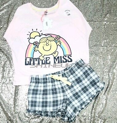 Mr.Men LITTLE MISS Ladies Primark T Shirt Shorts Womens Pyjamas tee set PJS BNWT