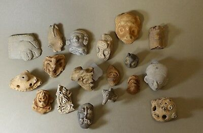 LOT 18 Authentic Pre Columbian Head Face Body Mask Broken Pottery Statue Pieces