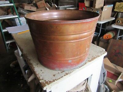 "Vintage Small Copper Wash Tub or Bucket Without Handle 9"" Tall 13""dia Lot 19-4-8"