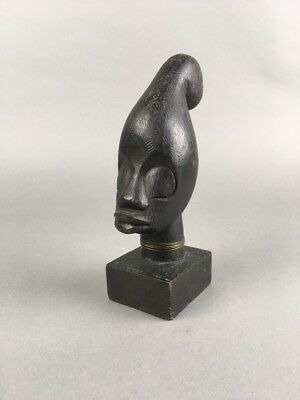 Vintage Carved Tribal Native African Woman Head Sculpture Bust