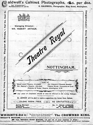 Nottingham Theatre Royal 1900 'san Toy' Marie Studholme Programme.