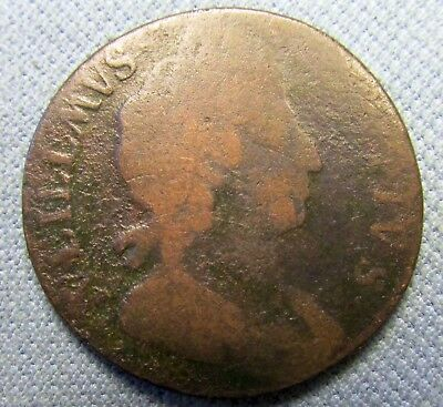 1698 King William III British US Colonial Copper Halfpenny - Date in Legend